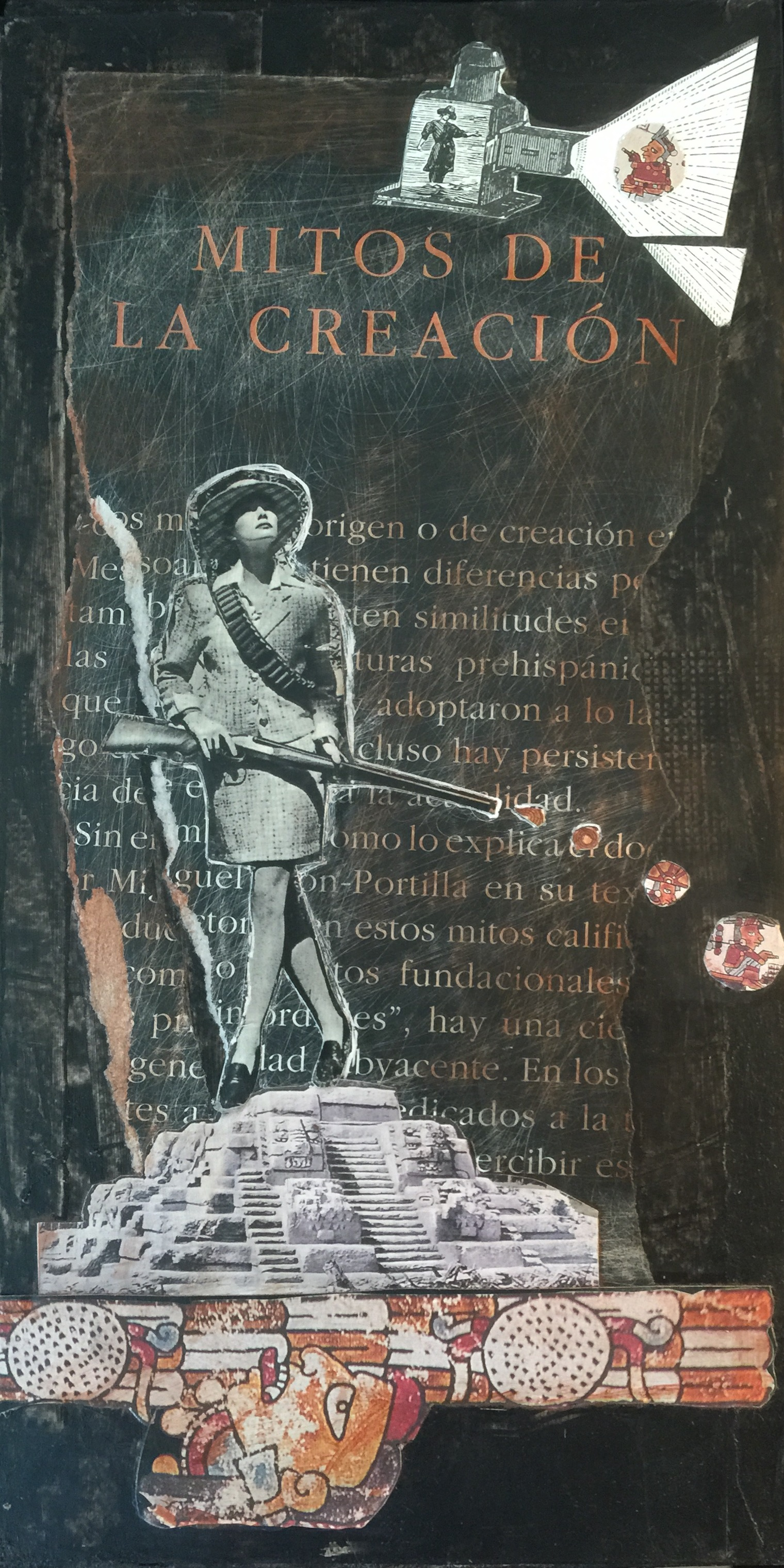 """Mitos de la Creación"" (Creation Myths)"" – a bourgeois woman with a rifle positions herself on a temple as an Aztec god looks up her skirt from the underworld"